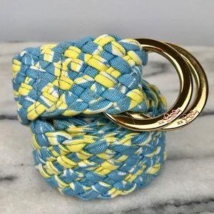 Lilly Pulitzer Yellow Blue Woven Fabric Belt